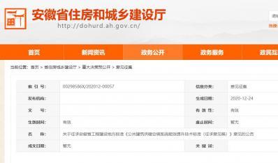 安徽省工程建设地方标准《公共建筑供暖空调系统能效提升技术标准(征求意见稿)》