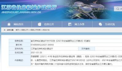 江苏省住建厅印发《2021年全省建筑业工作要点》