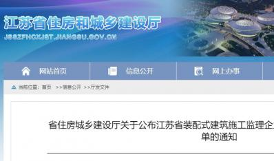 江苏省装配式建筑施工监理企业名录(第二批)复审认定名单